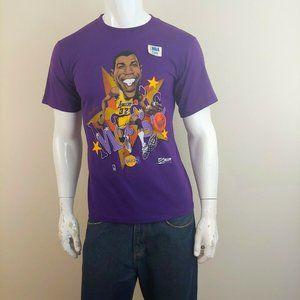 Magic Johnson Vintage 1990 Purple T Shirt LA Laker